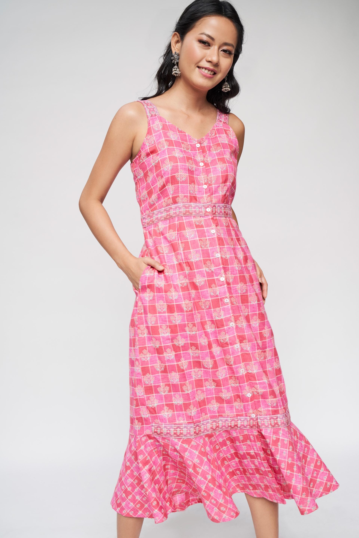 Global Desi | Pink Floral Printed Trapese Dress