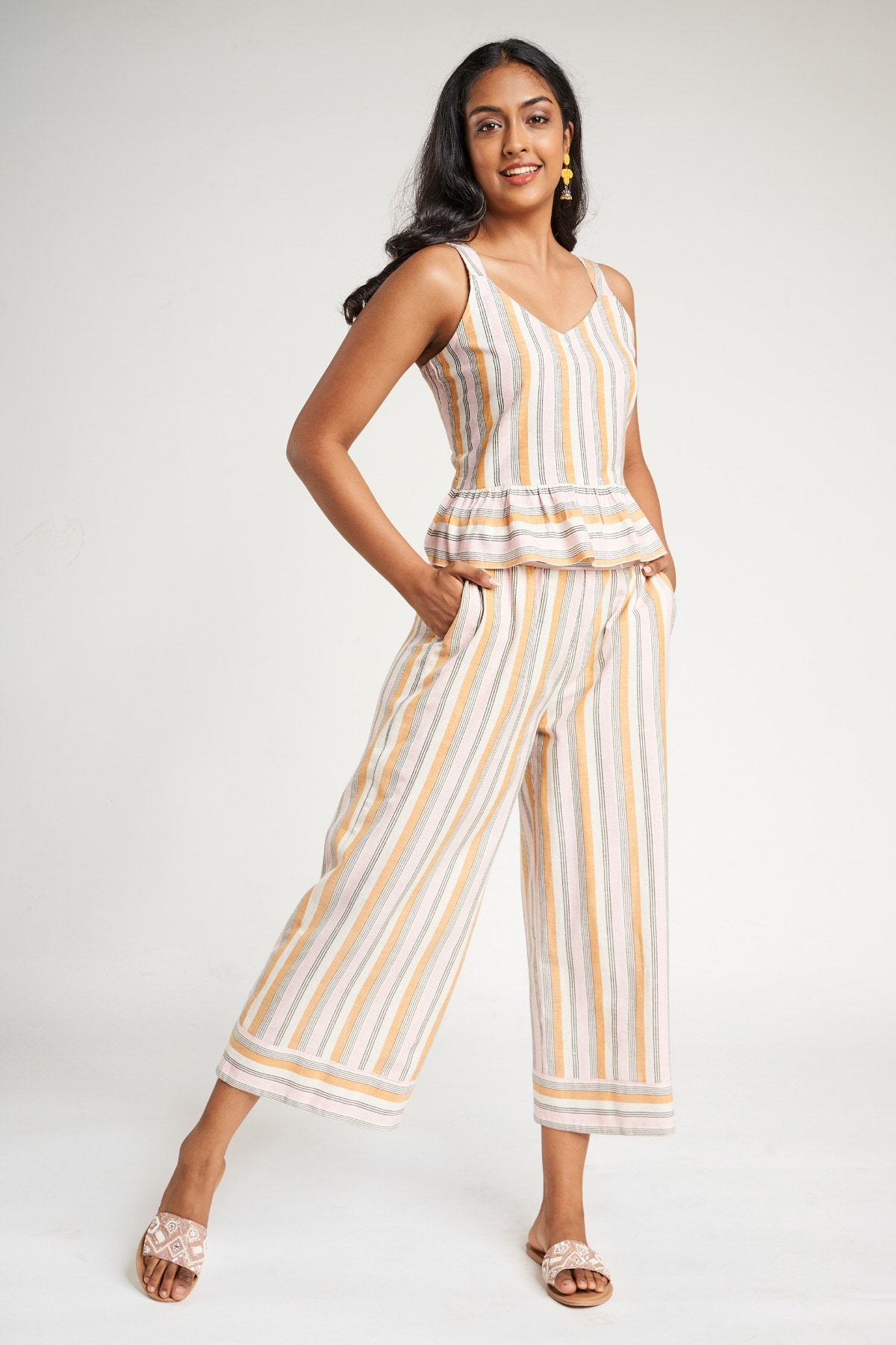 Global Desi   Mustard Striped  Cropped Suit