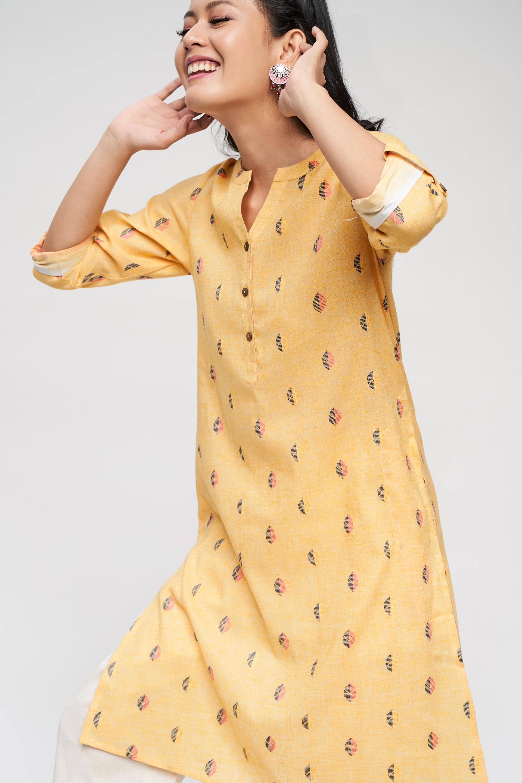Global Desi | Mustard Abstract Printed Kurta