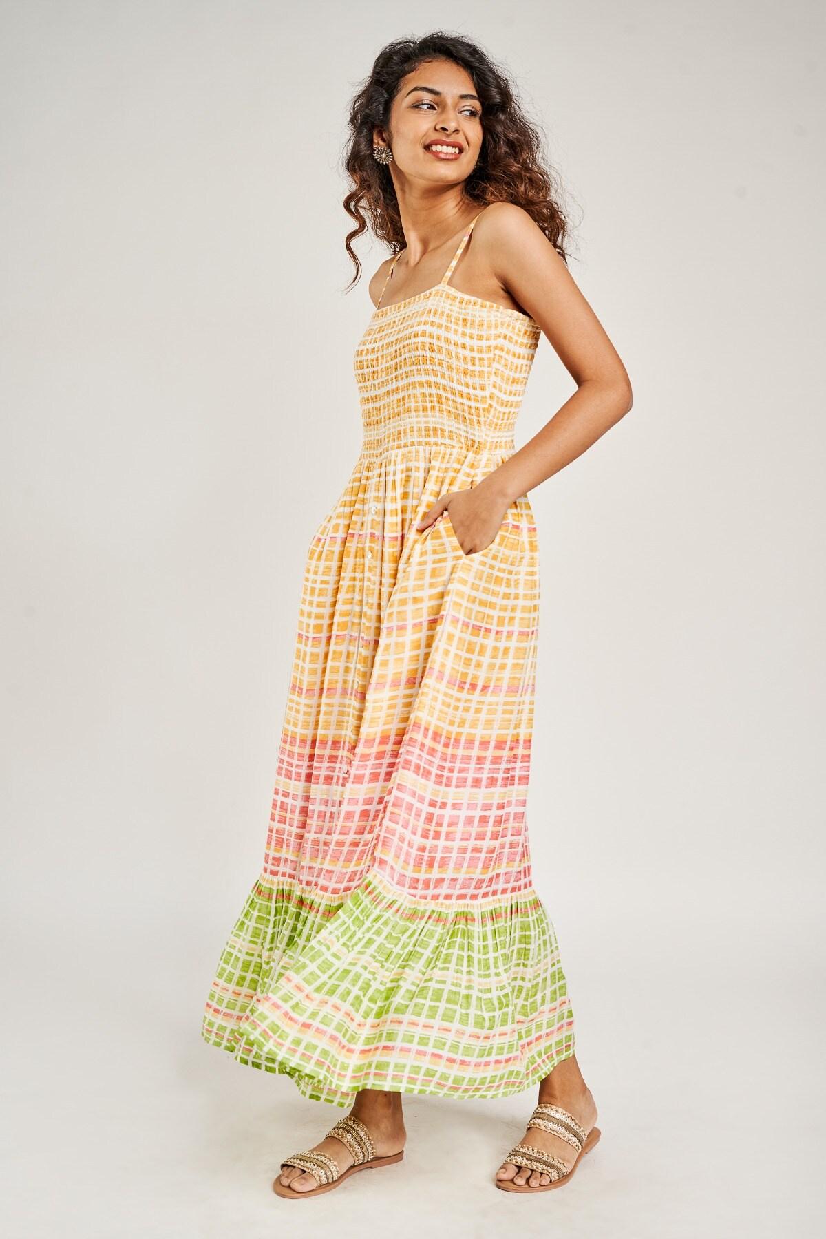 Global Desi | Yellow Geometric Printed Smocking Dresse