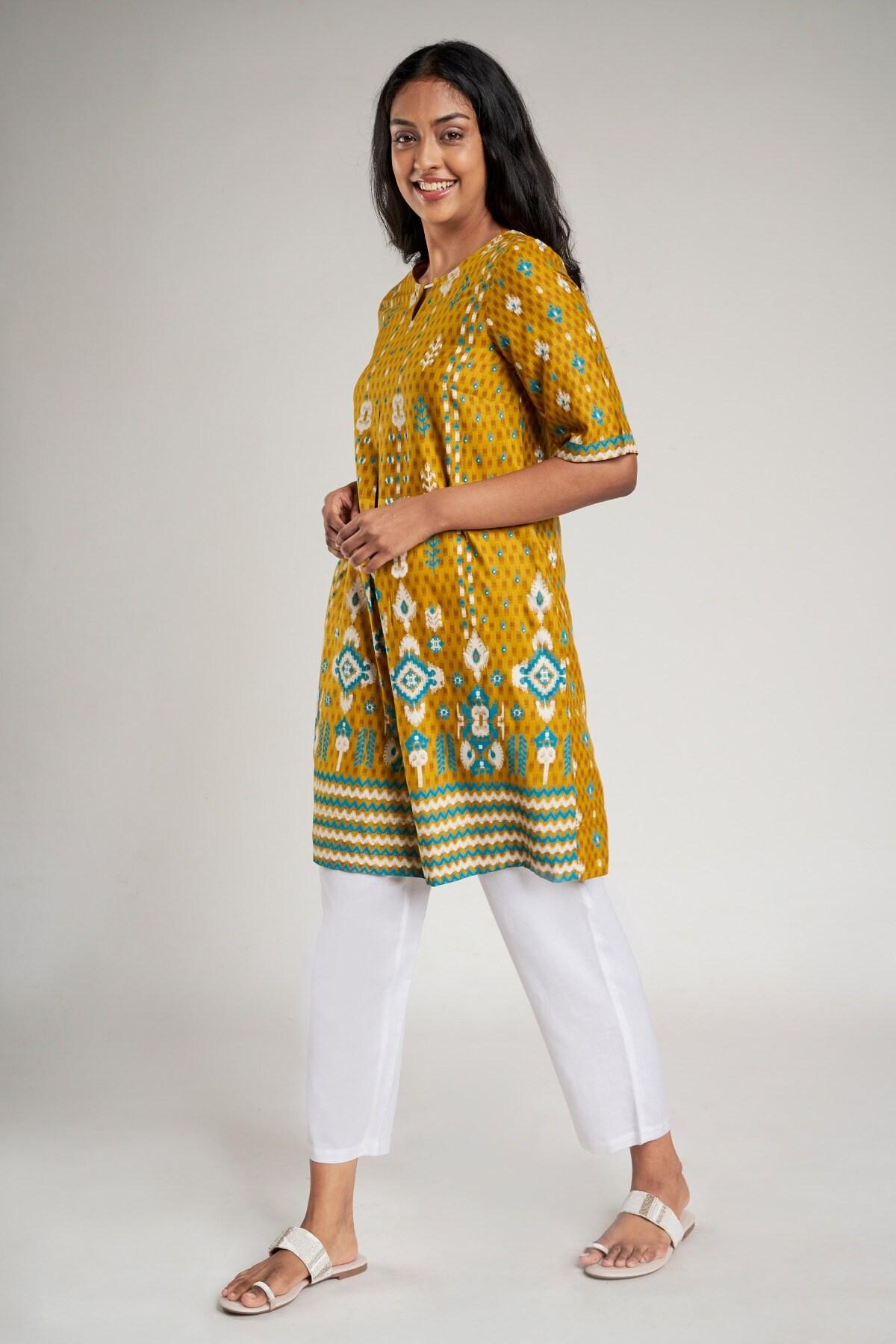 Global Desi | Mustard Abstract Printed Shirt Style Dress