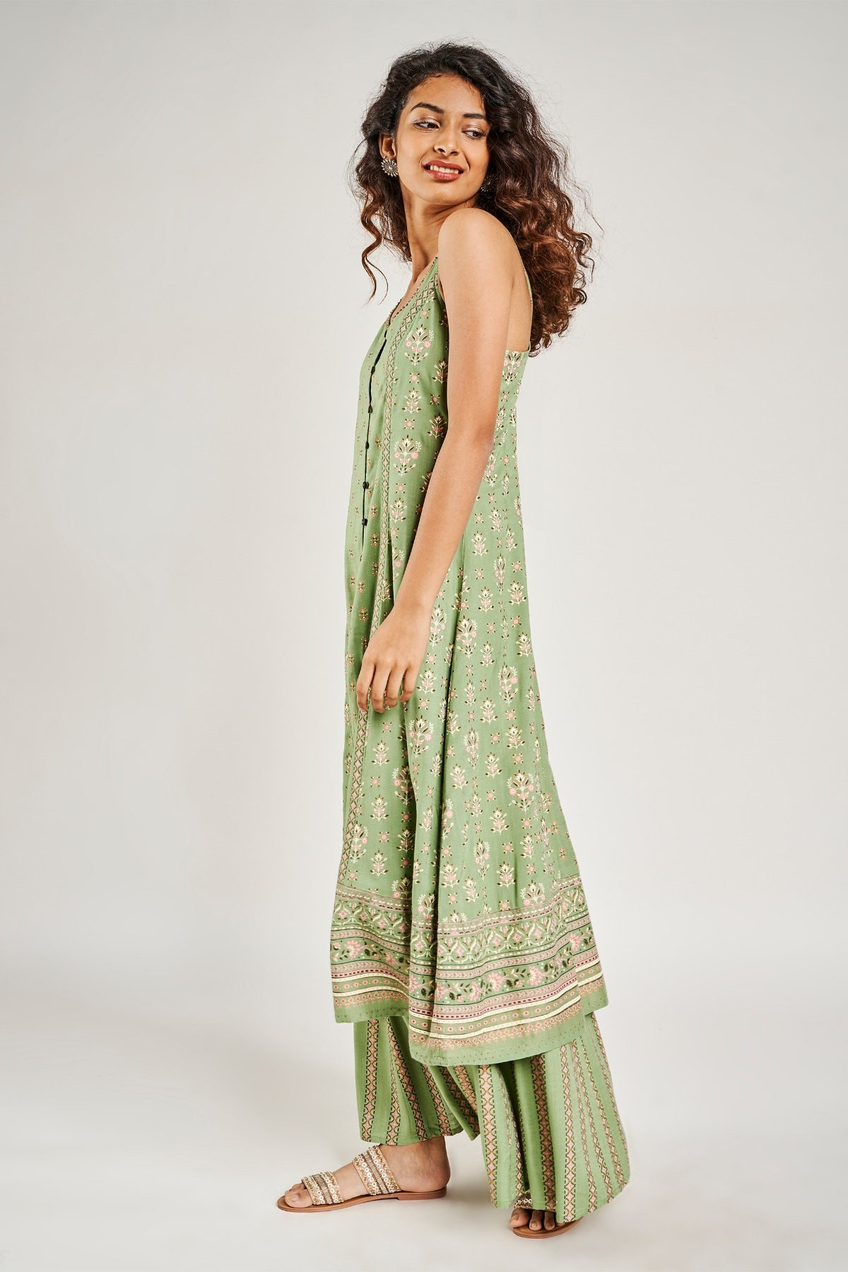 Global Desi | Sage Green Floral Embroidered Fit And Flare Suit