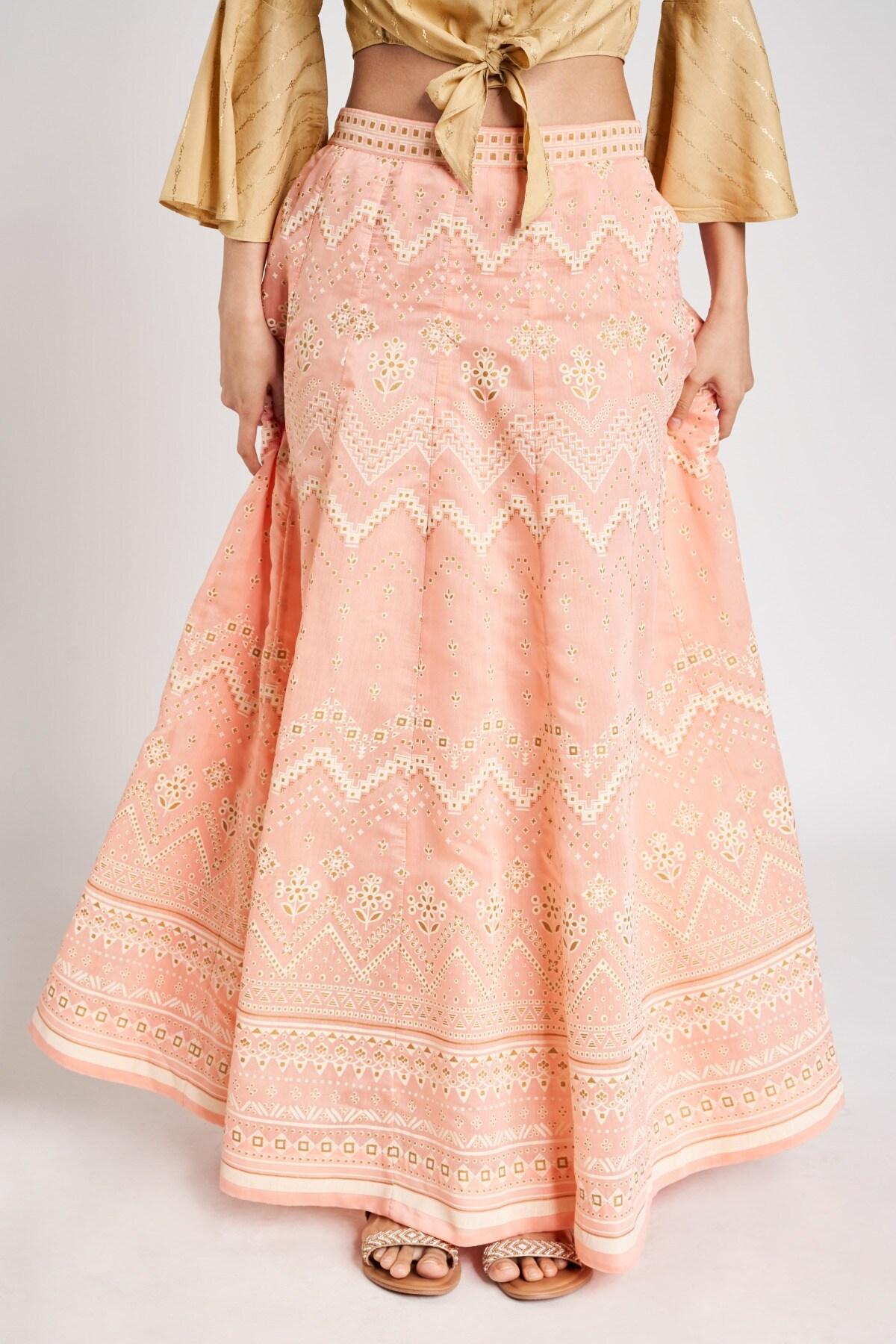 Global Desi   Pink Geometric Printed Skirt