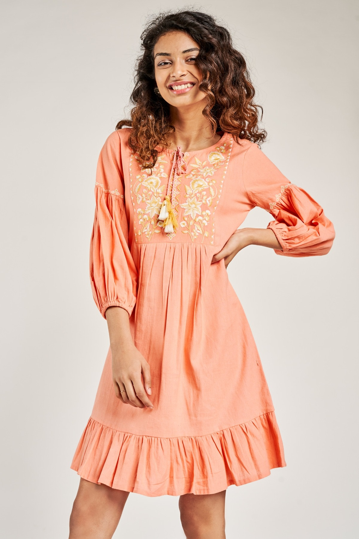 Global Desi | Coral Solid Embroidered Dress
