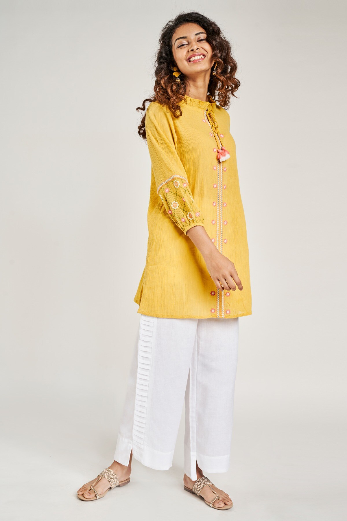 Global Desi   Mustard Solid Embroidered Tunic