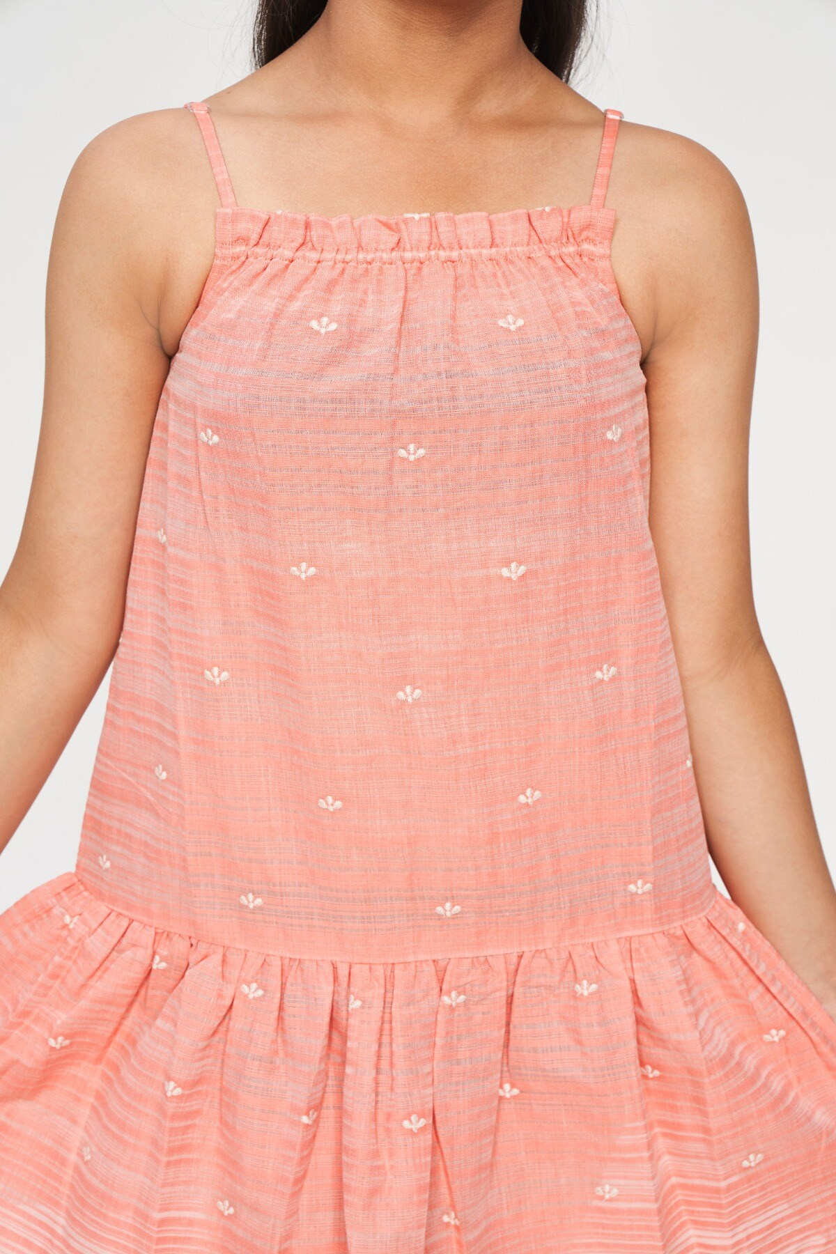 Global Desi | Coral Solid Embroidered Trapese Dress