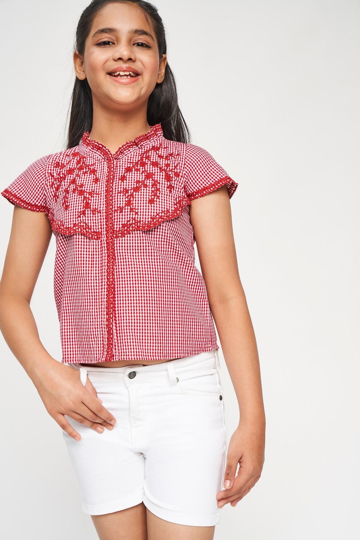 Global Desi | Red Checks Embroidered Shirt Style Top