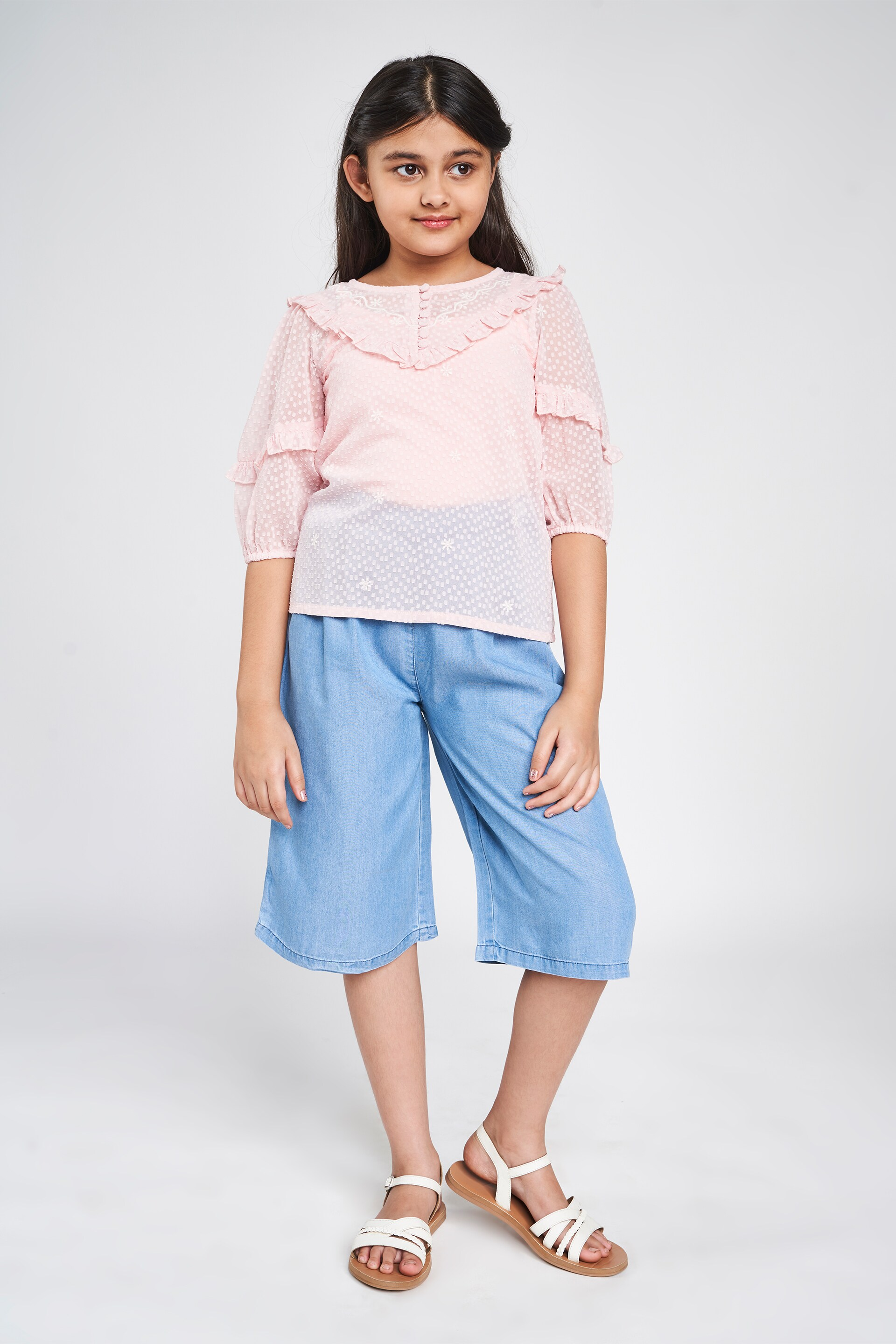 Global Desi | Peach Solid Embroidered A-Line Top