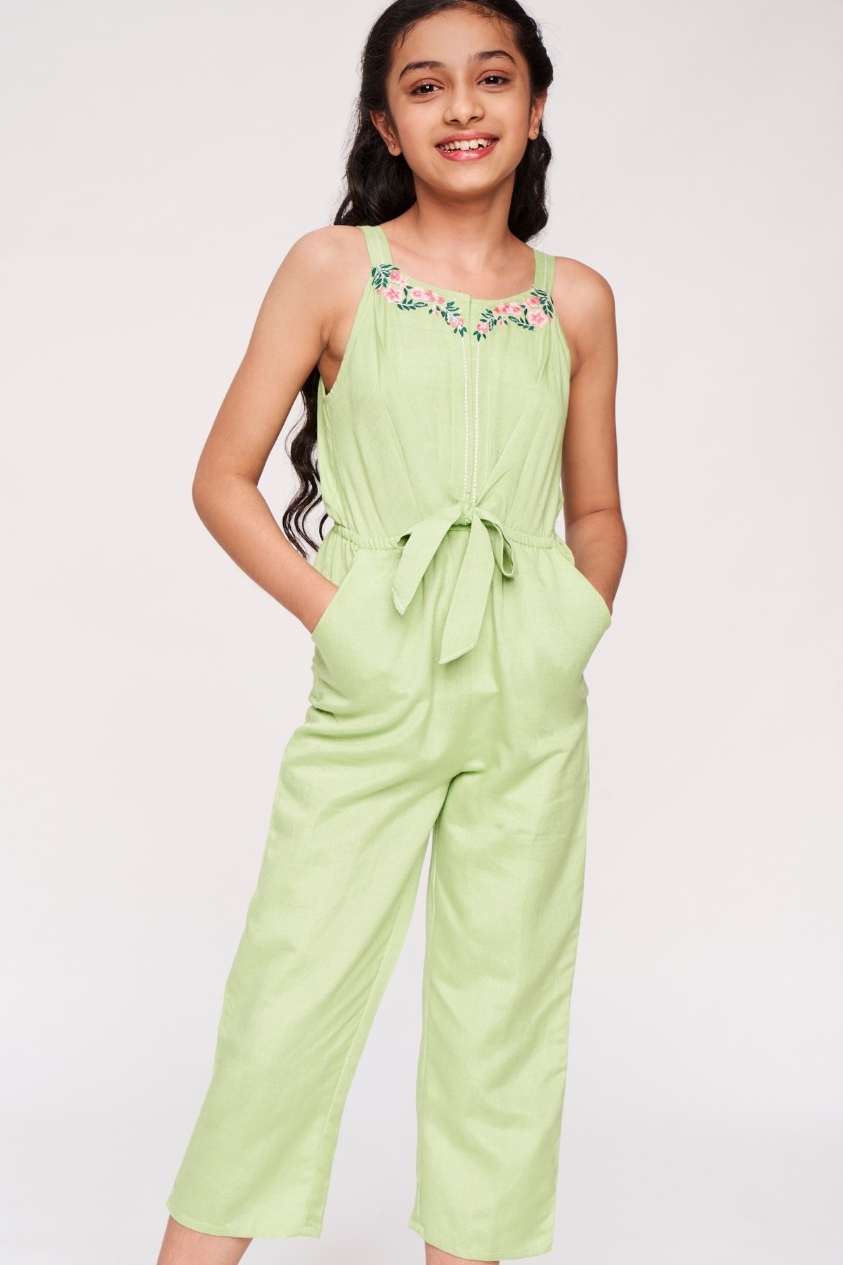 Global Desi | Lime Solid Embroidered Jumpsuit