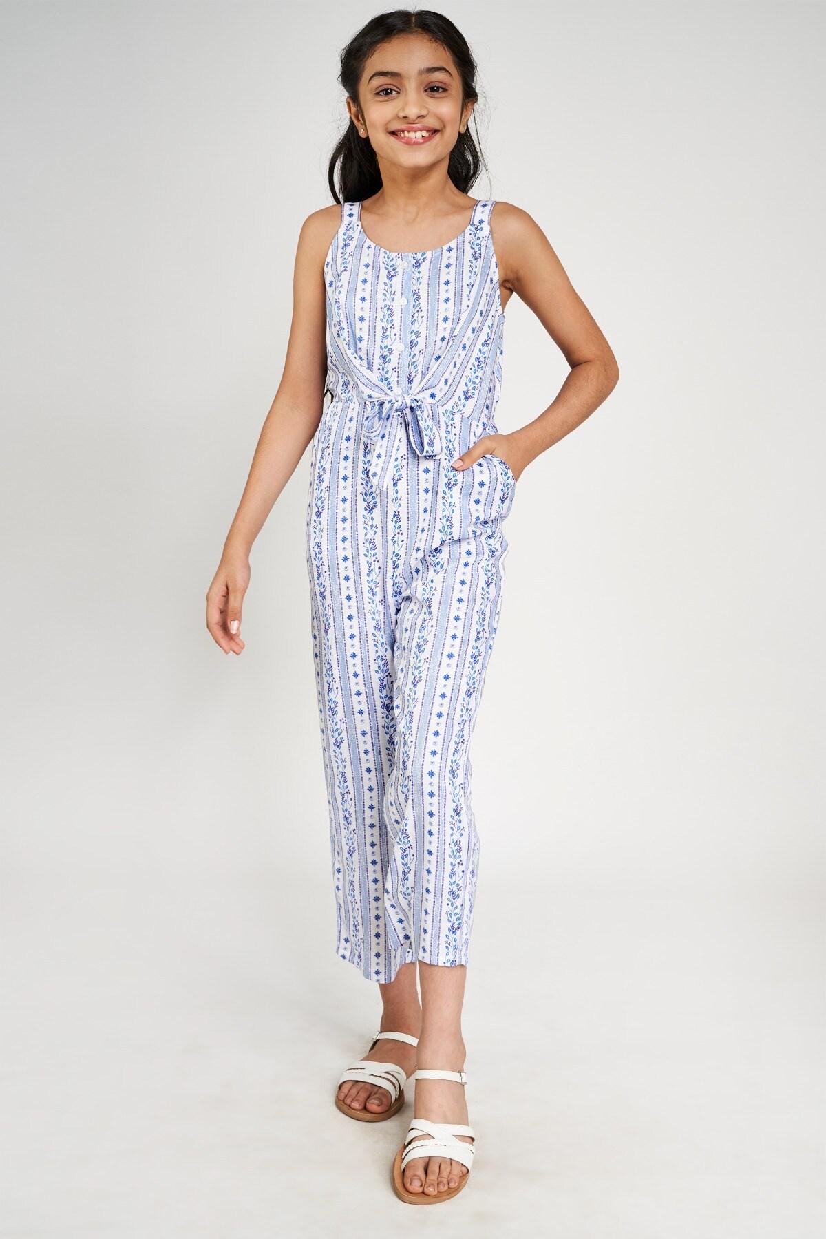 Global Desi | Blue Floral Printed Tie-Up Jumpsuit