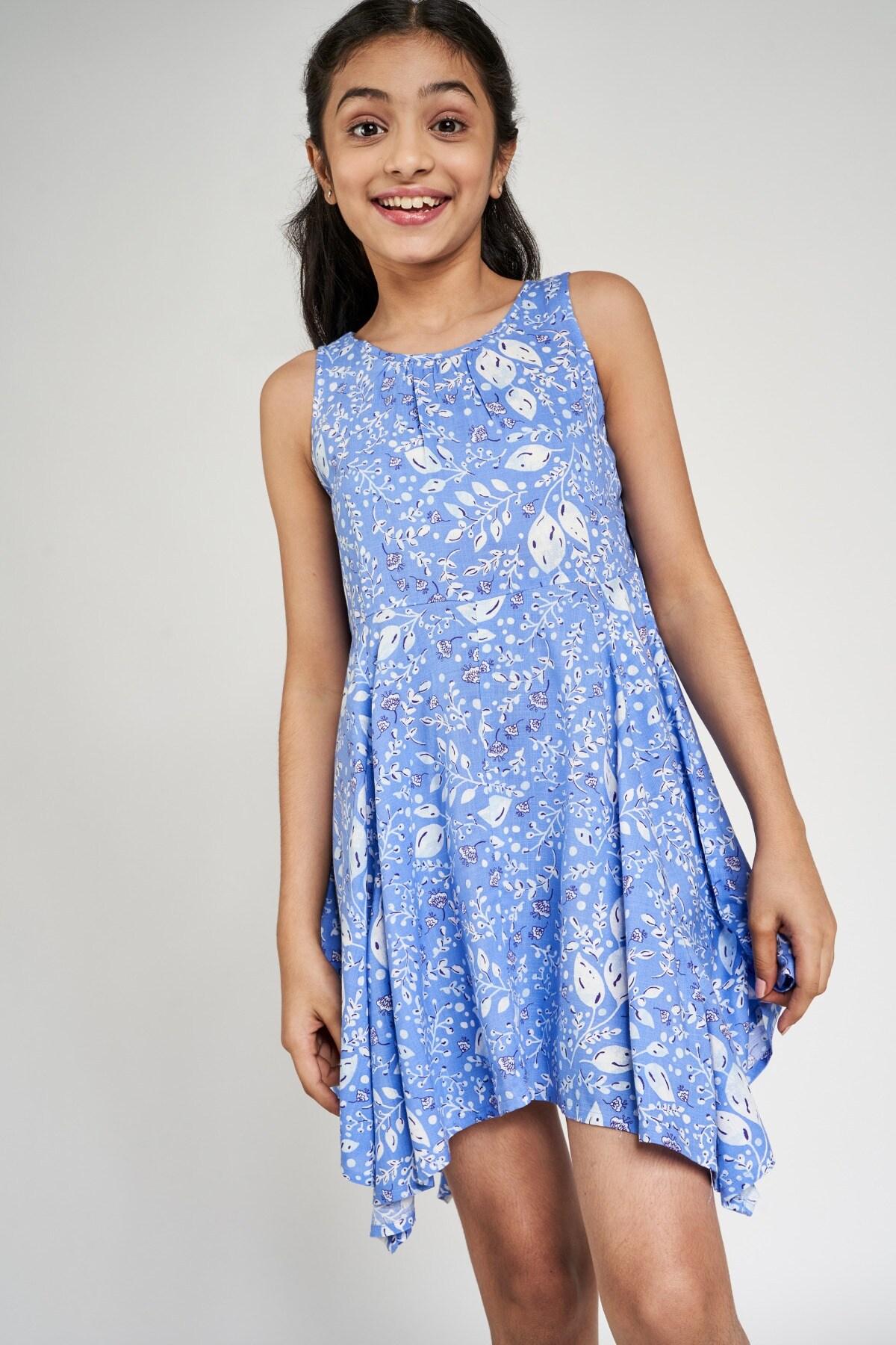 Global Desi   Blue Floral Printed Dress