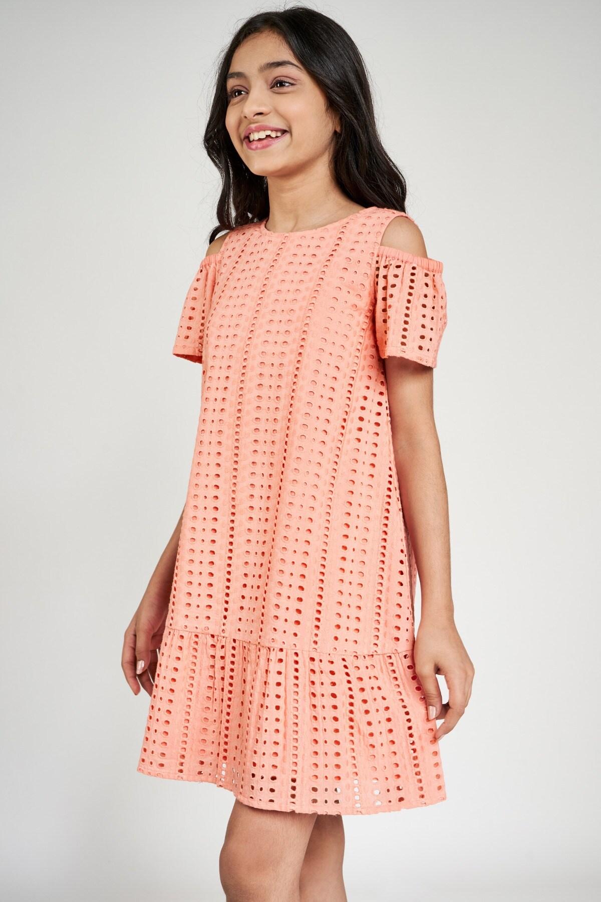 Global Desi | Peach Solid A-Line Dress