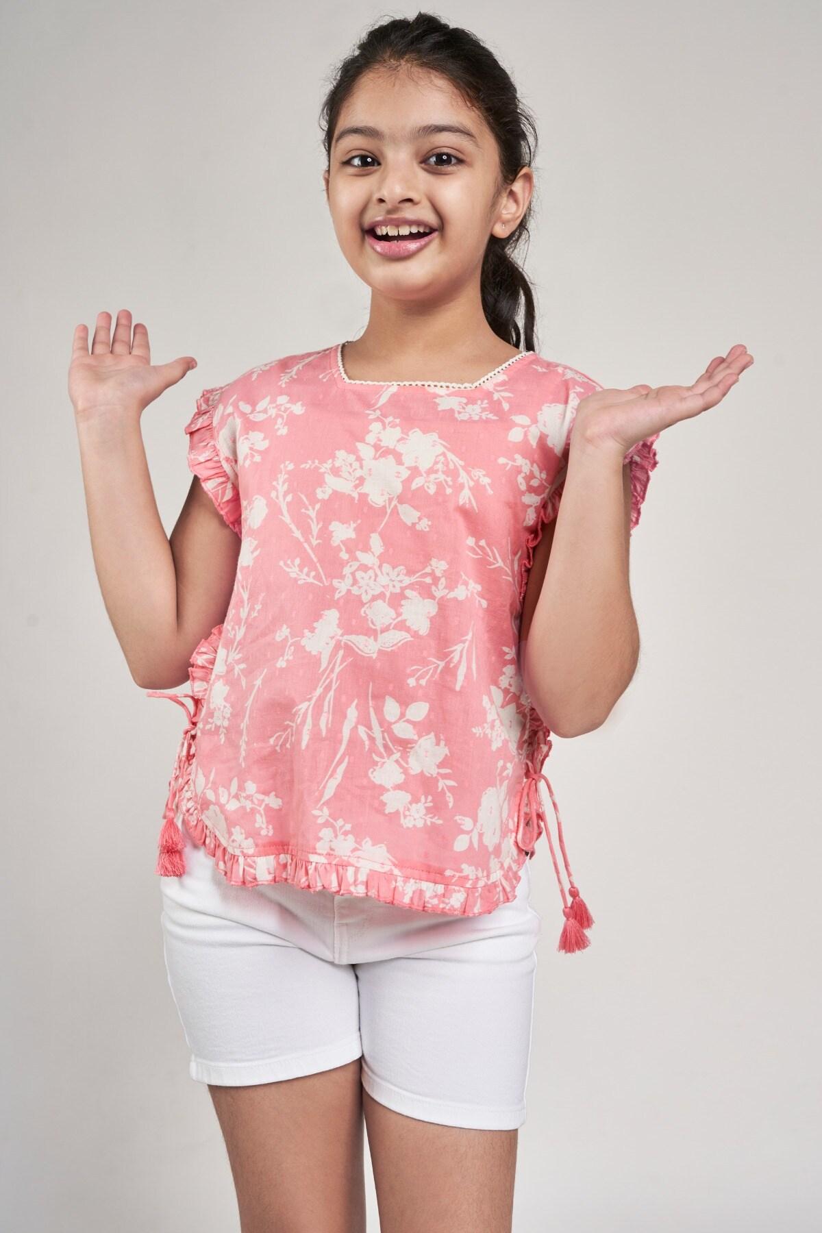 Global Desi   Pink Floral Printed Tabard Top