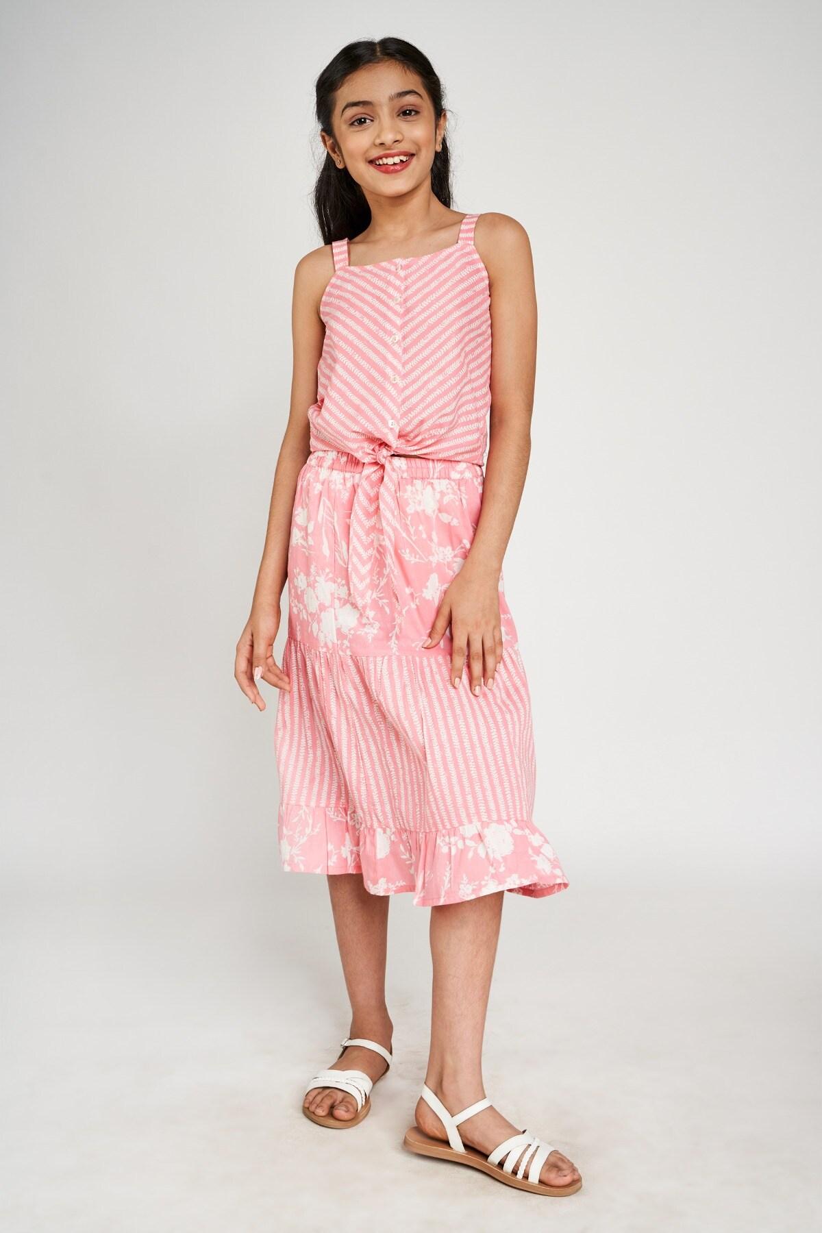 Global Desi | Pink Geometric Printed Shirt Style Top