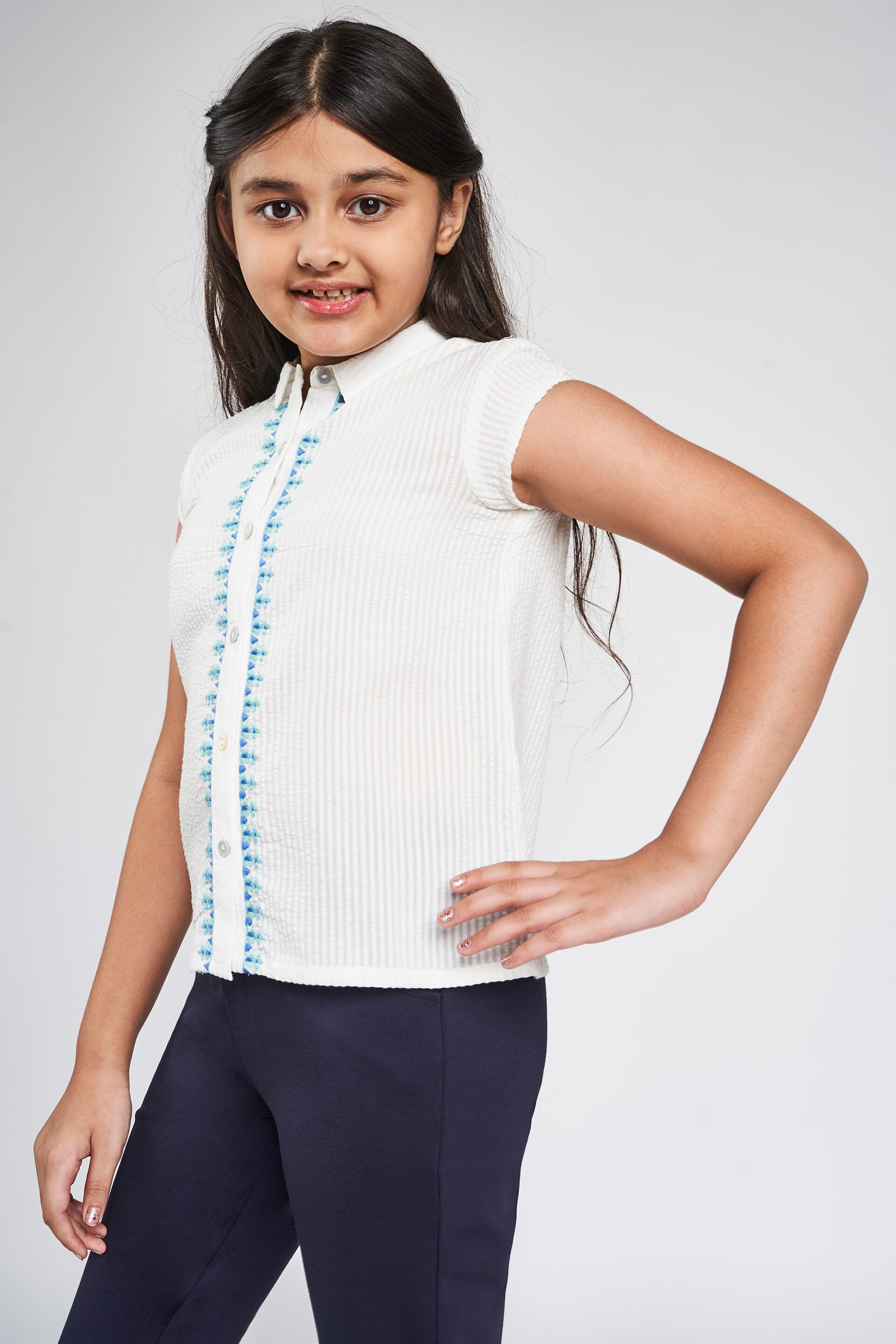 Global Desi | White Self Design Embroidered Shirt Style Top