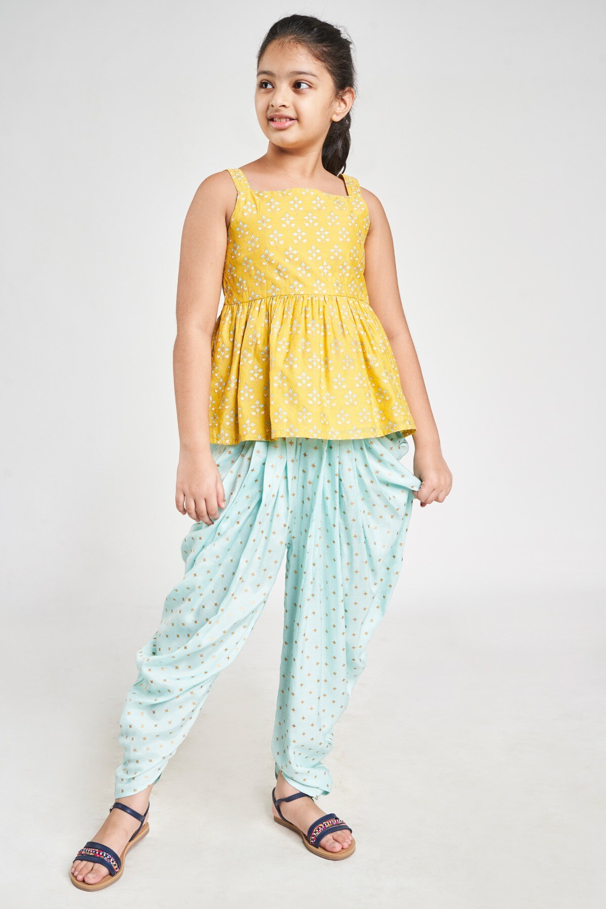 Global Desi | Yellow Ethnic Motifs Printed Fit And Flare Suit