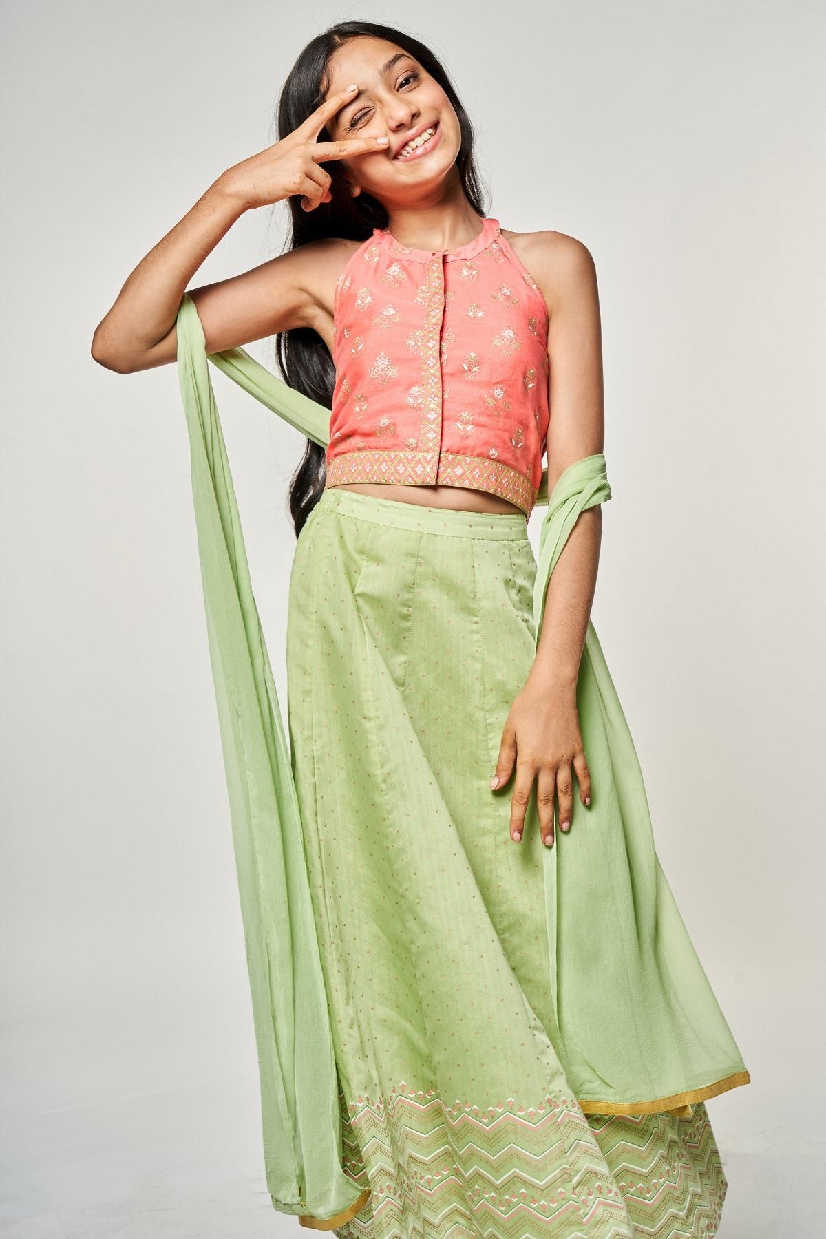 Global Desi | Lime Pink Printed Set