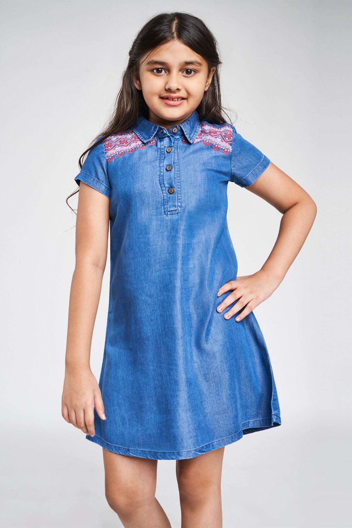 Global Desi | Blue Solid Embroidered A-Line Dress