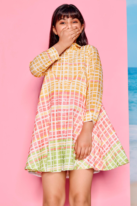 Global Desi | Yellow Geometric Printed Trapese Dress