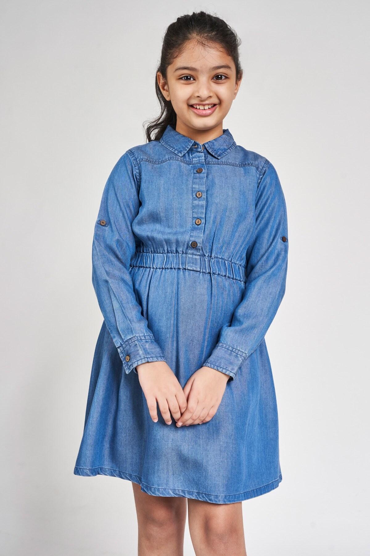 Global Desi | Blue Solid Shirt Style Dress
