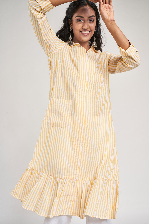 Global Desi   Yellow Striped Trapese Kurta