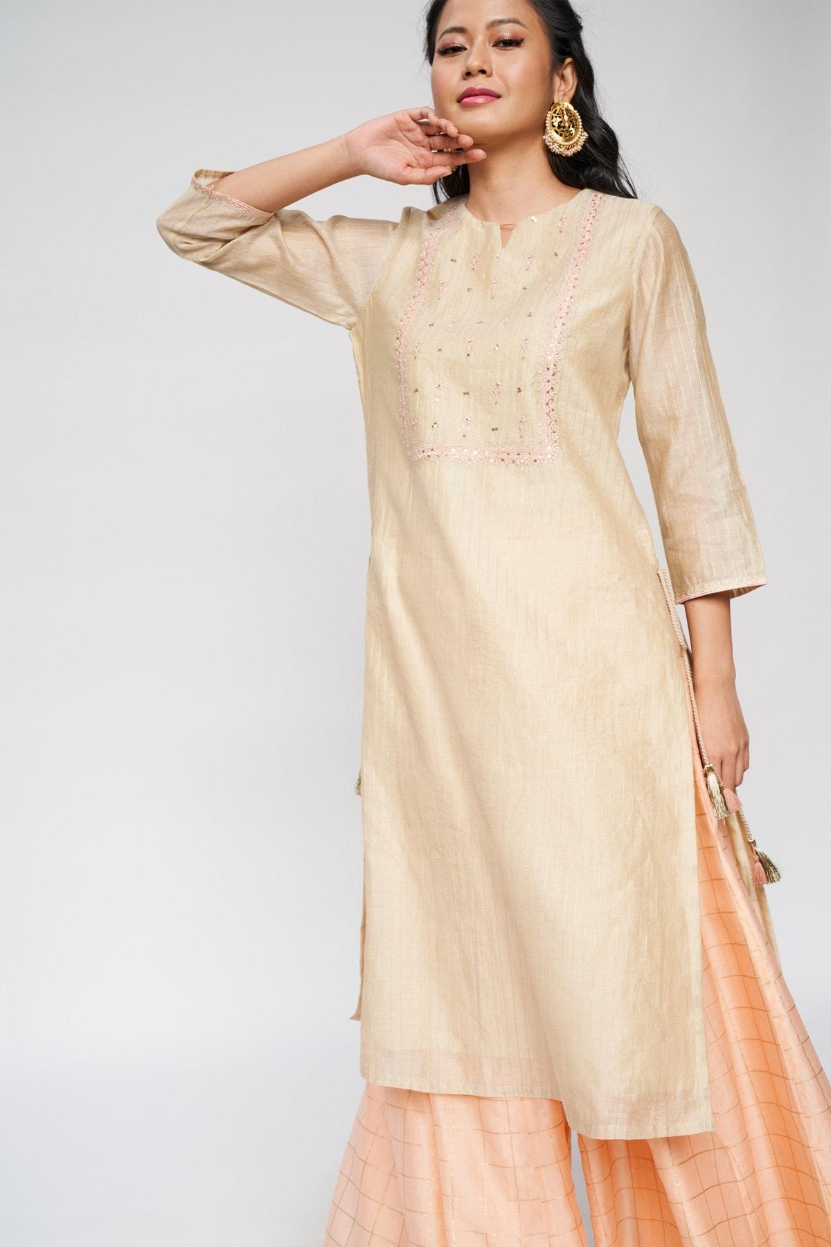 Global Desi | Beige Self Design Embroidered A-Line Suit