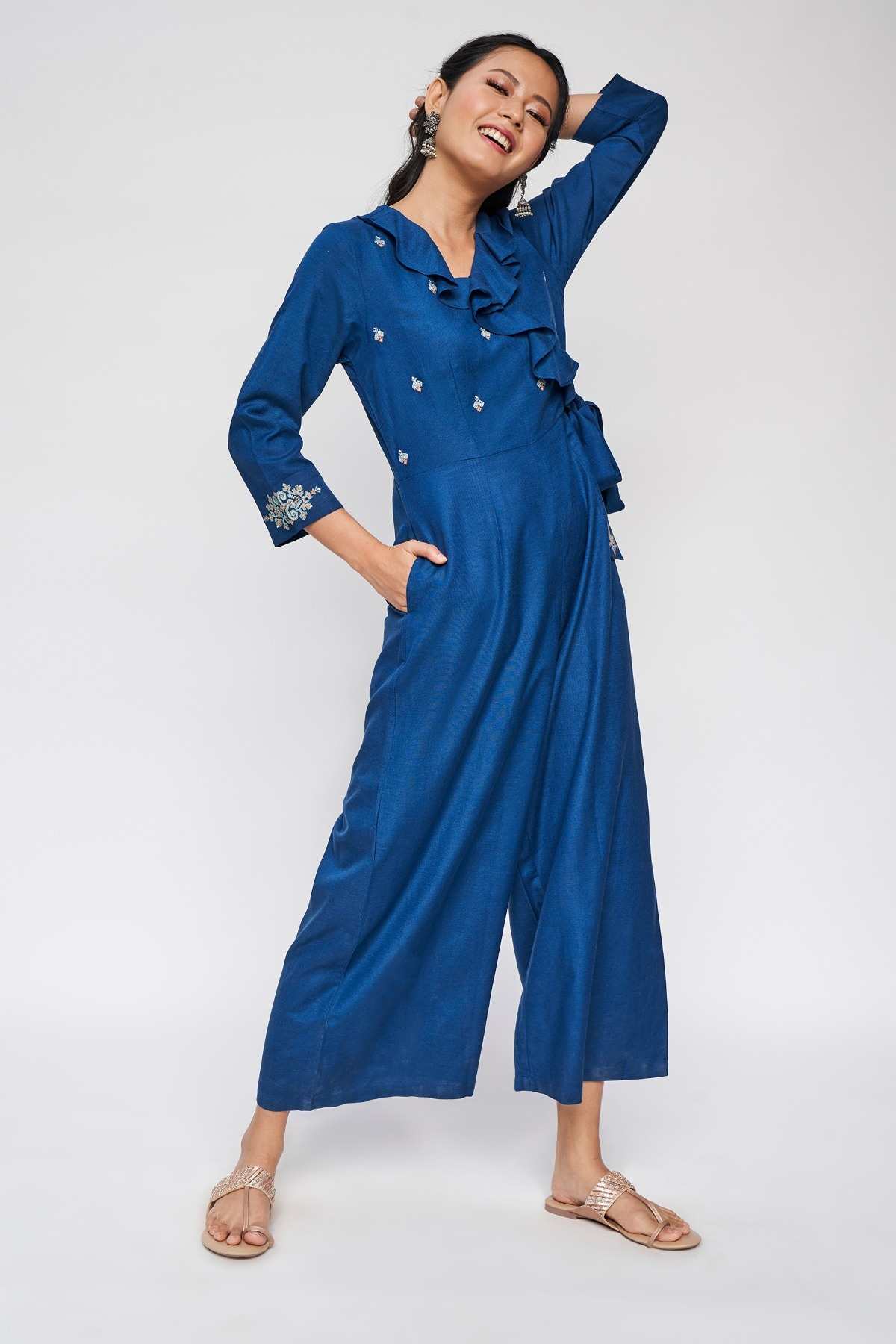 Global Desi   Midnight Blue Solid Embroidered Jumpsuit