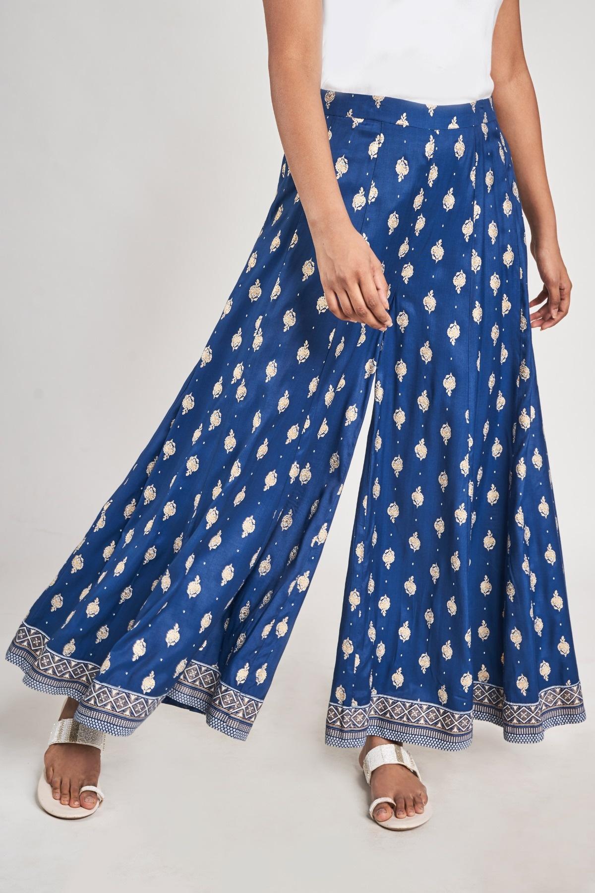 Global Desi   Dark Blue Floral Printed A-Line Bottom