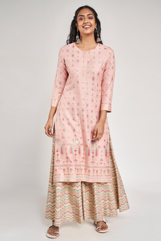 Global Desi | Pink Floral Printed Kurta