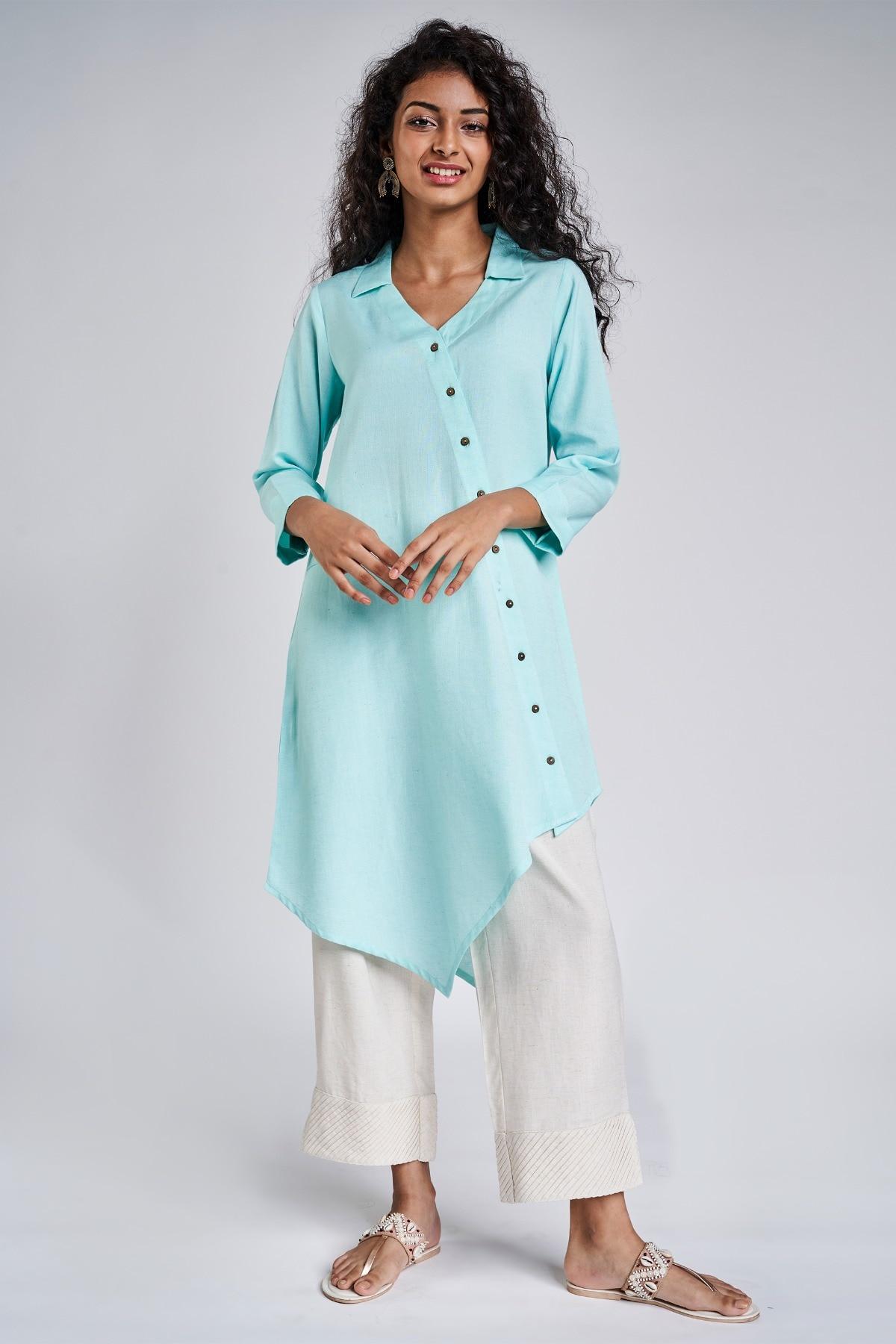 Global Desi   Light Blue Solid Three-Quarter Sleeves Tunic