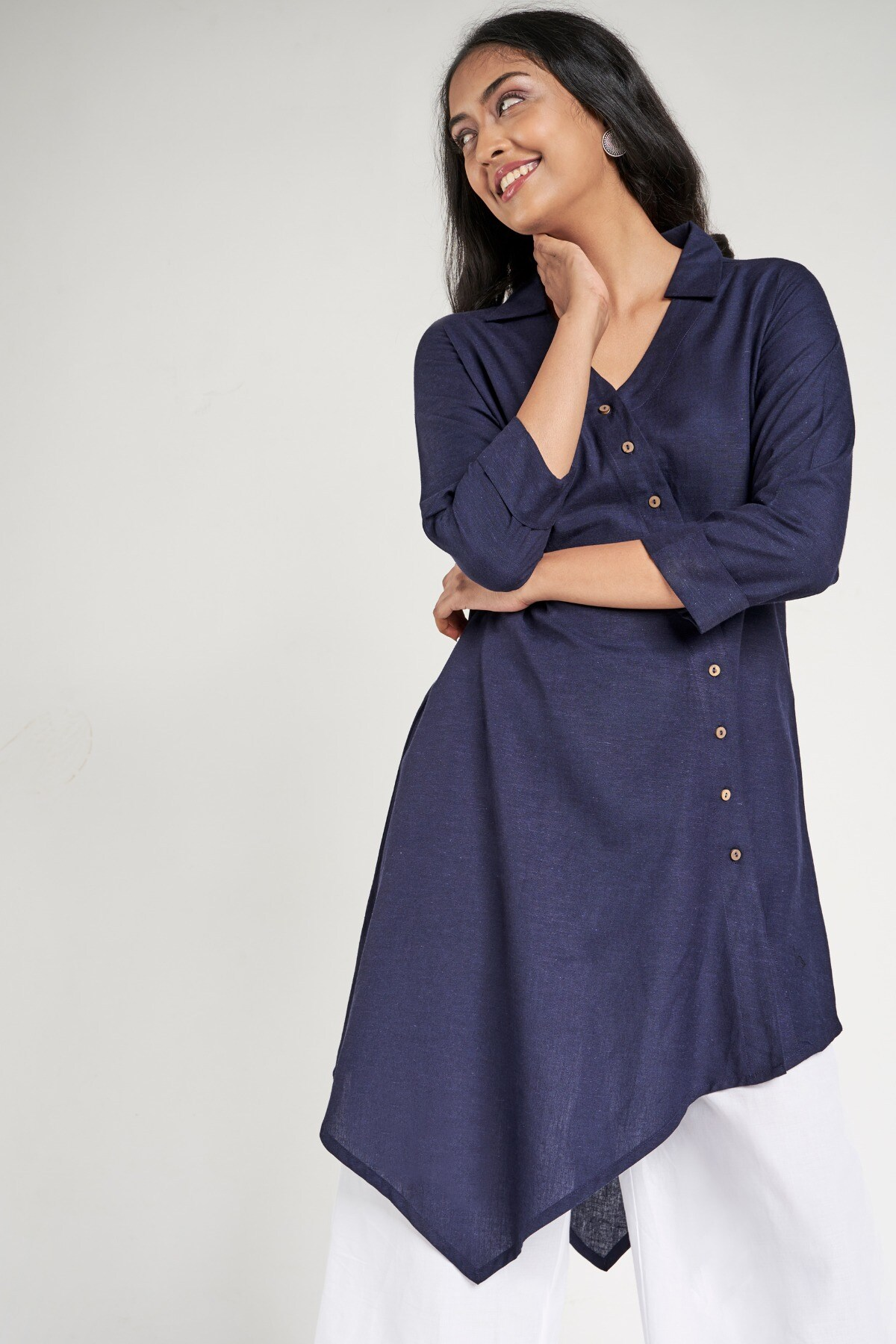 Global Desi | Navy Blue Solid Tunic