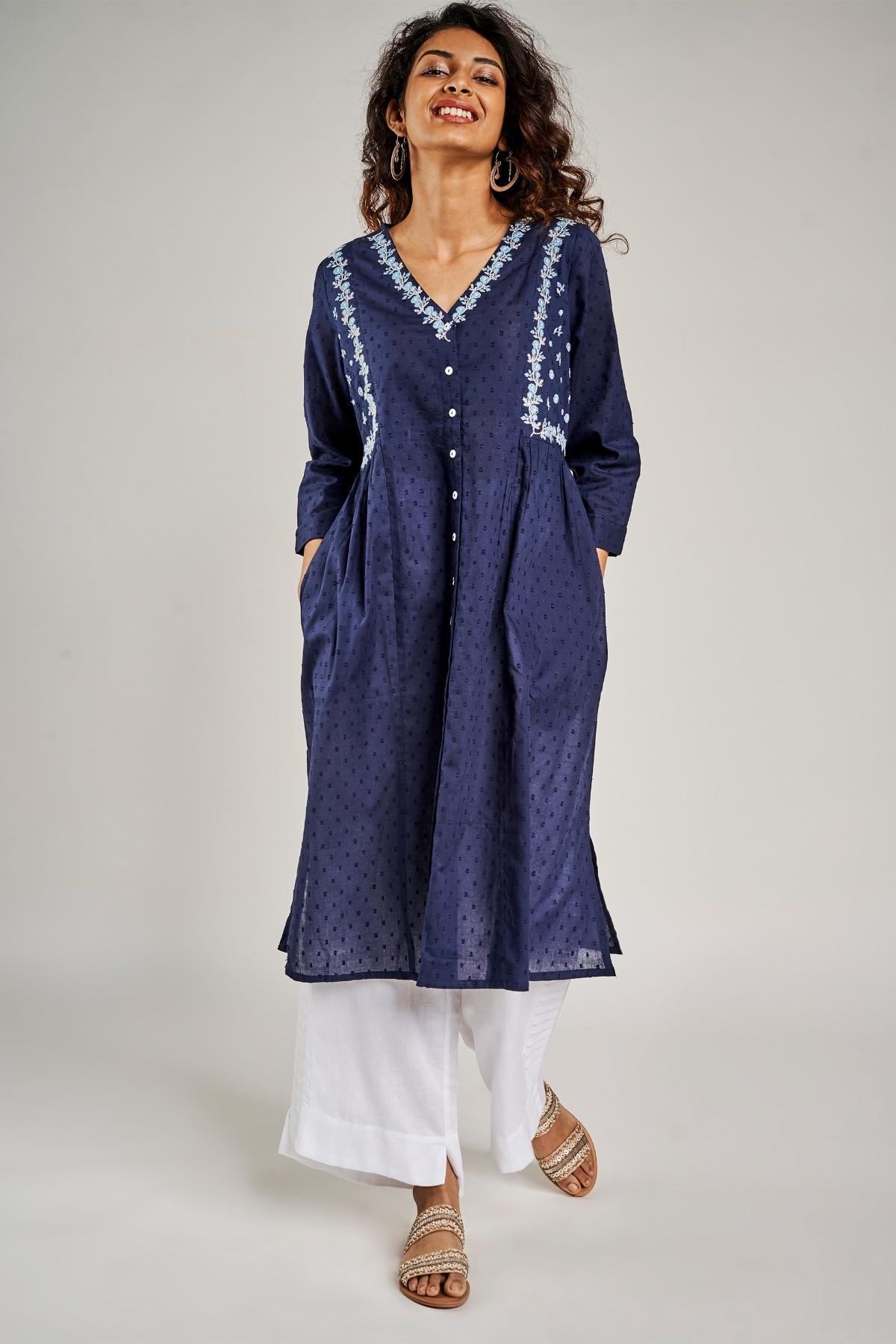 Global Desi | Navy Blue Self Design Embroidered Kurta