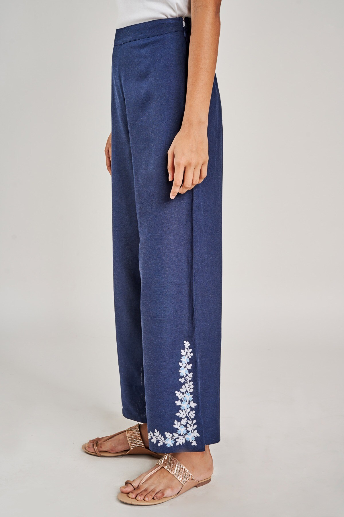 Global Desi | Dark Blue Solid Embroidered Bottom