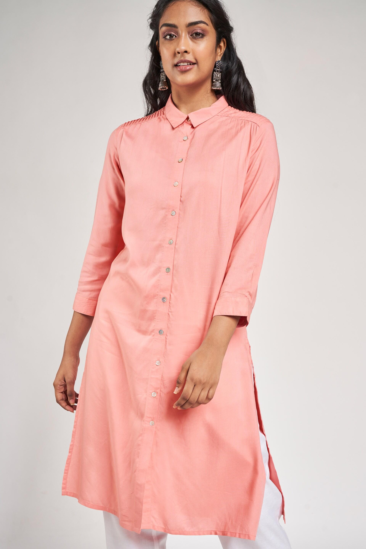 Global Desi | Pink Solid Kurta