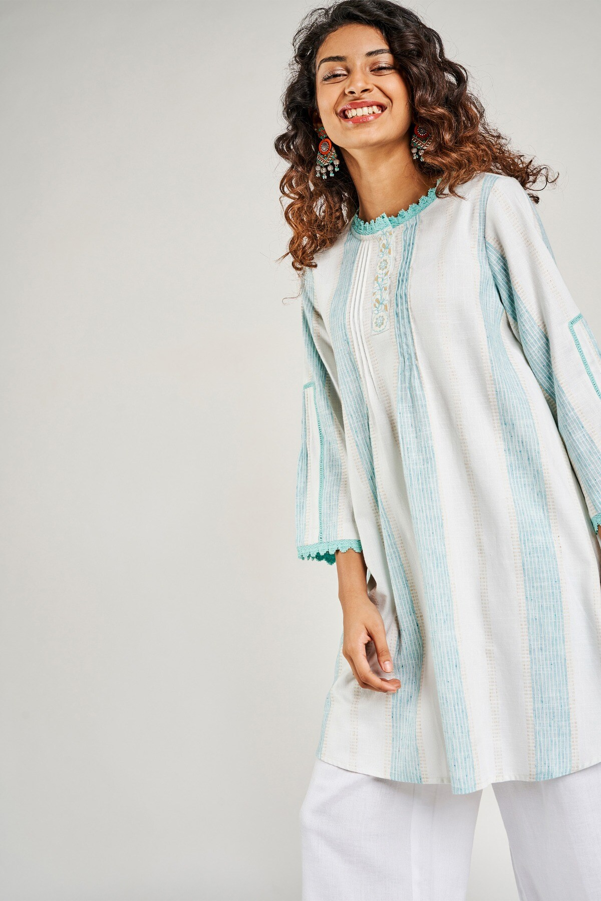 Global Desi   Aqua Striped Embroidered Fit And Flare Dress