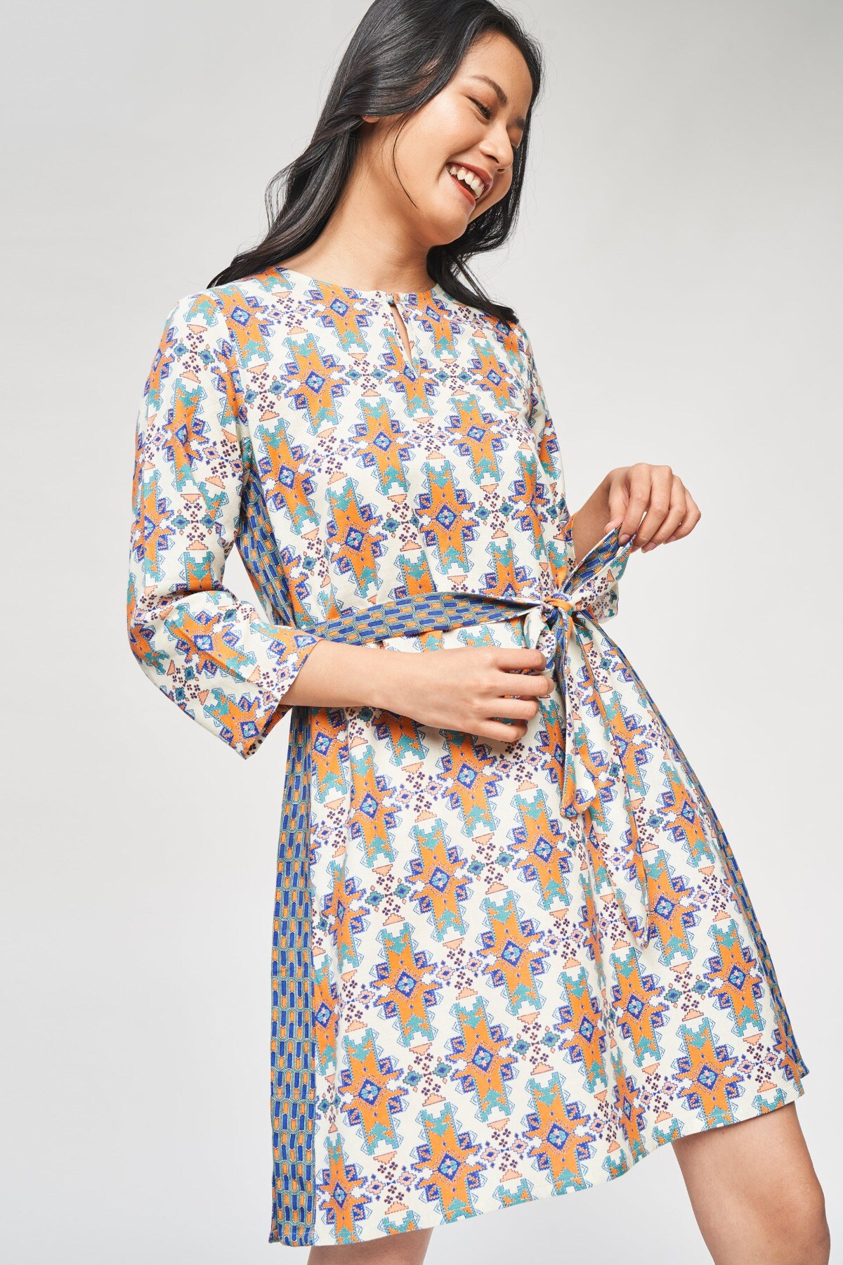 Global Desi | Off White Geometric Printed A-Line Dress