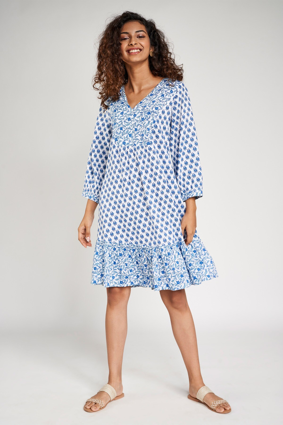Global Desi | Blue Floral Printed Trapese Dress