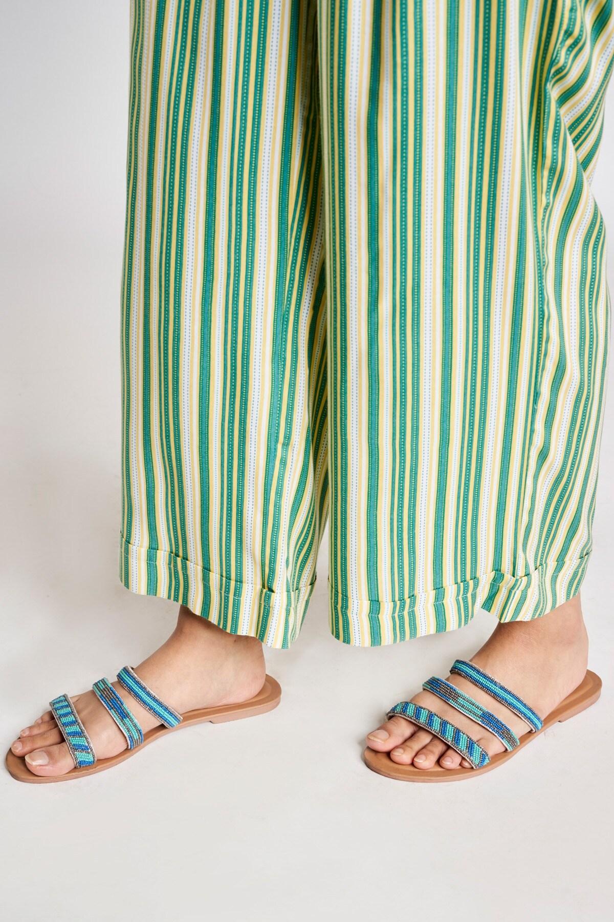 Global Desi   Green Striped Printed Bottom