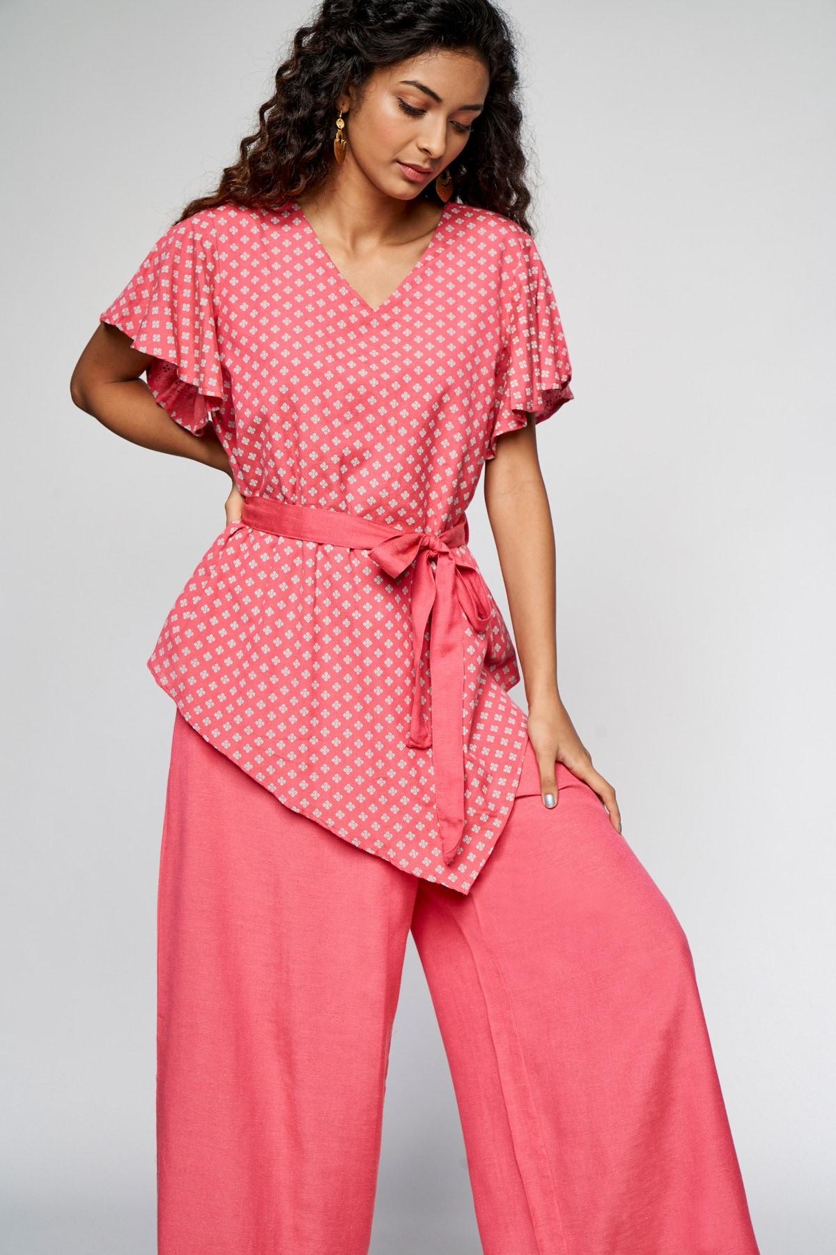 Global Desi | Pink Floral Printed Jumpsuit