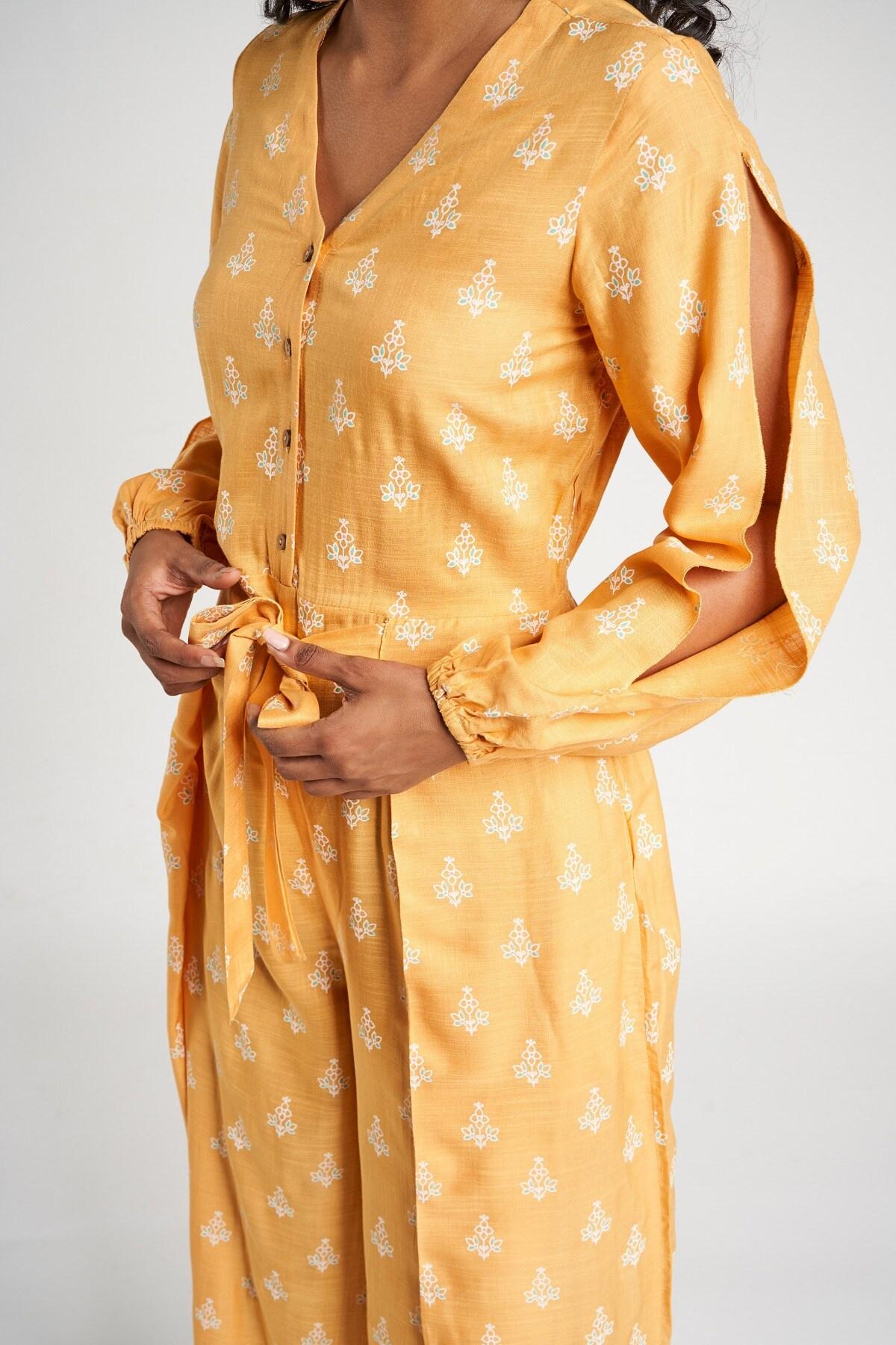 Global Desi   Mustard Floral  Jumpsuit
