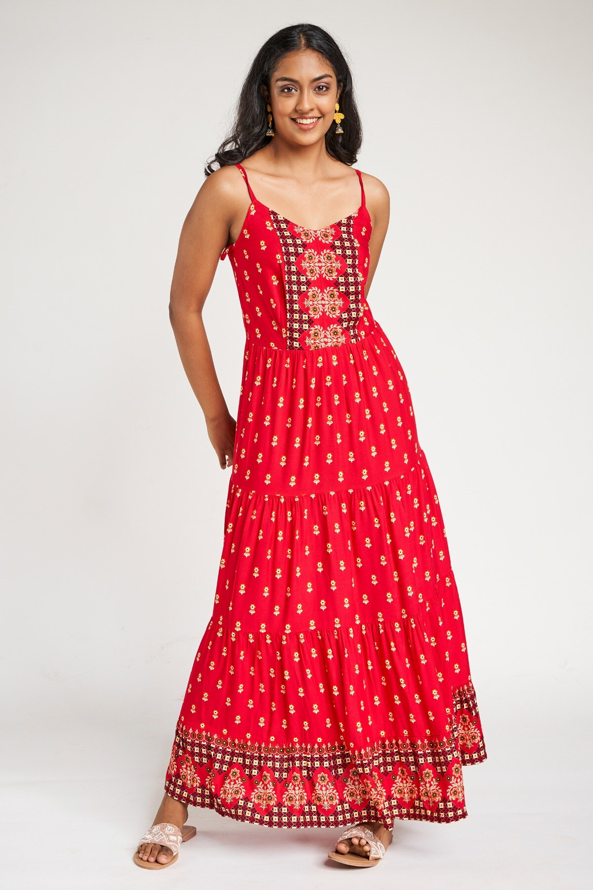 Global Desi | Hot Pink Floral Printed Fit And Flare Dress