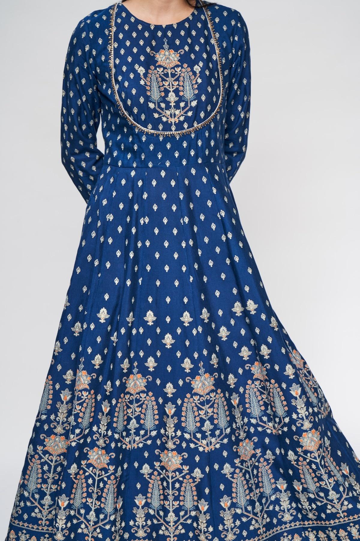 Global Desi | Dark Blue Floral Printed Fit And Flare Kurta