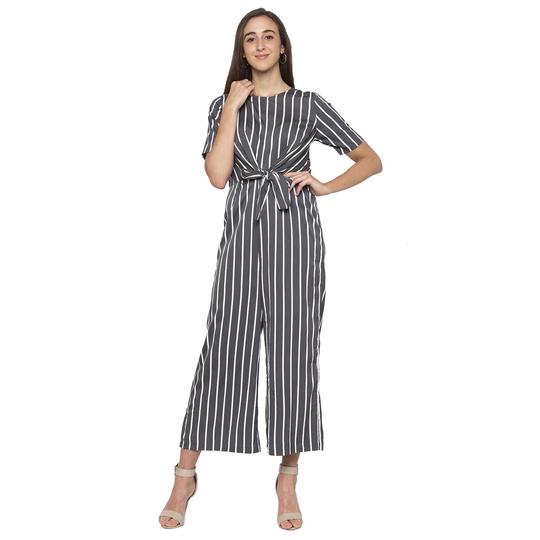 globus | Grey Striped Jumpsuit