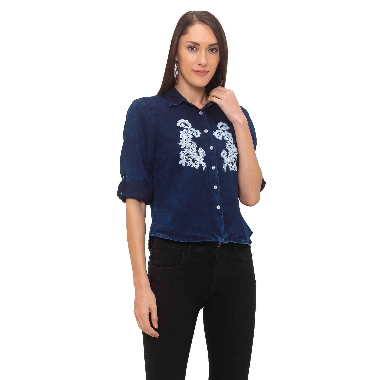 globus | Globus Blue Embroidered Shirt