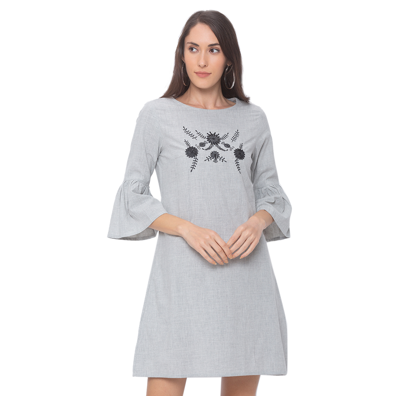 globus   Globus Grey Embroidereded Dress