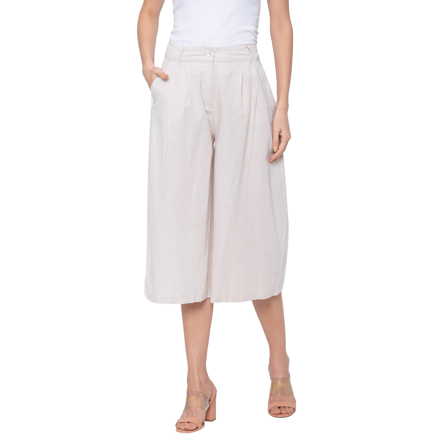 globus | Globus Off White Solid Trousers