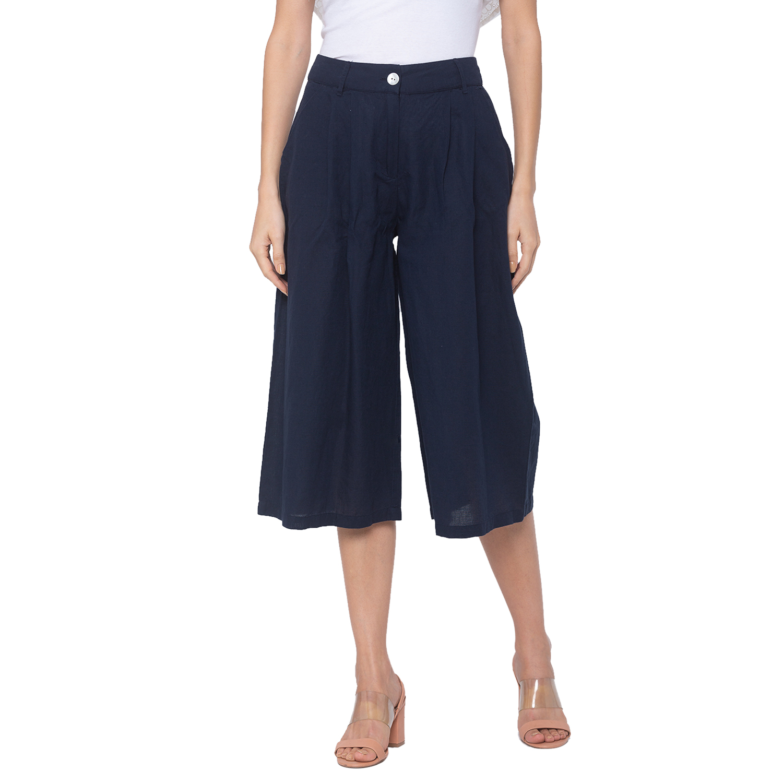 globus | Globus Navy Blue Solid Trousers