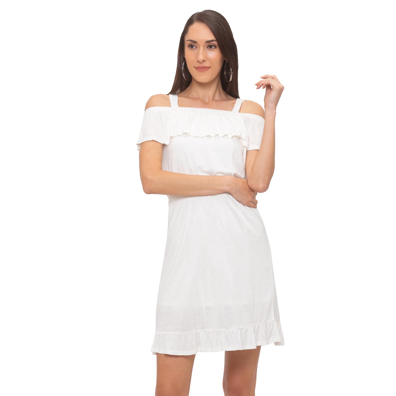 globus   Globus White Solid Dress