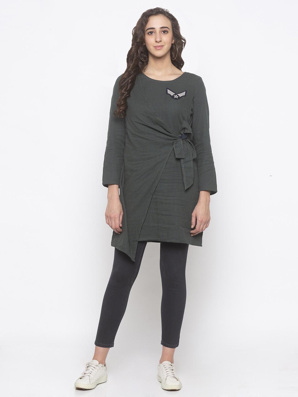 globus | Globus Green Checked Dress