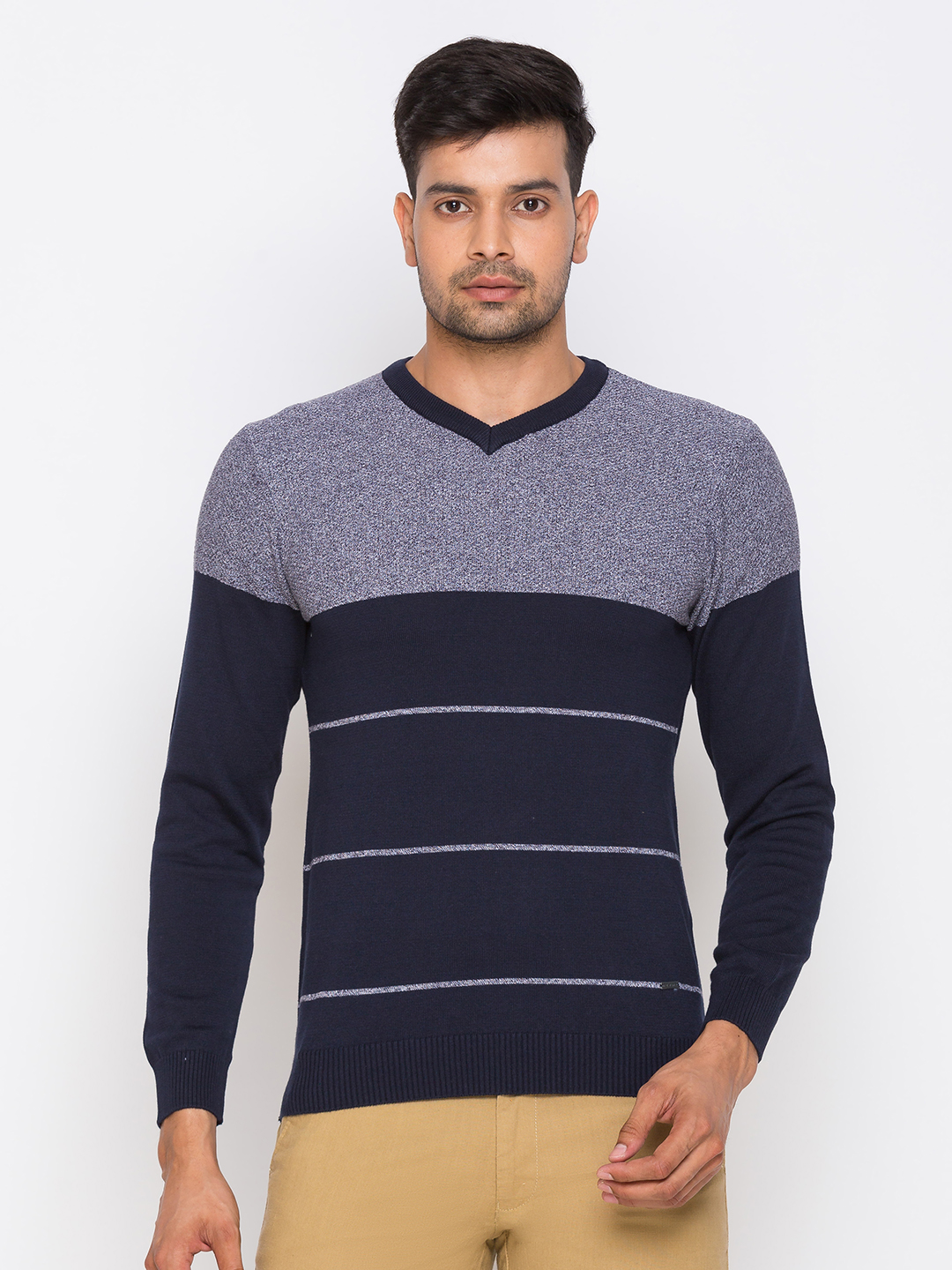 globus   Globus Navy Blue Striped Pullover Sweater